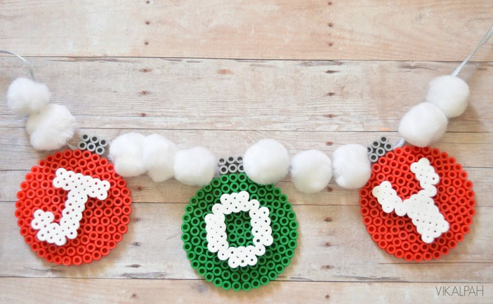 JOY christmas garland using perler beads