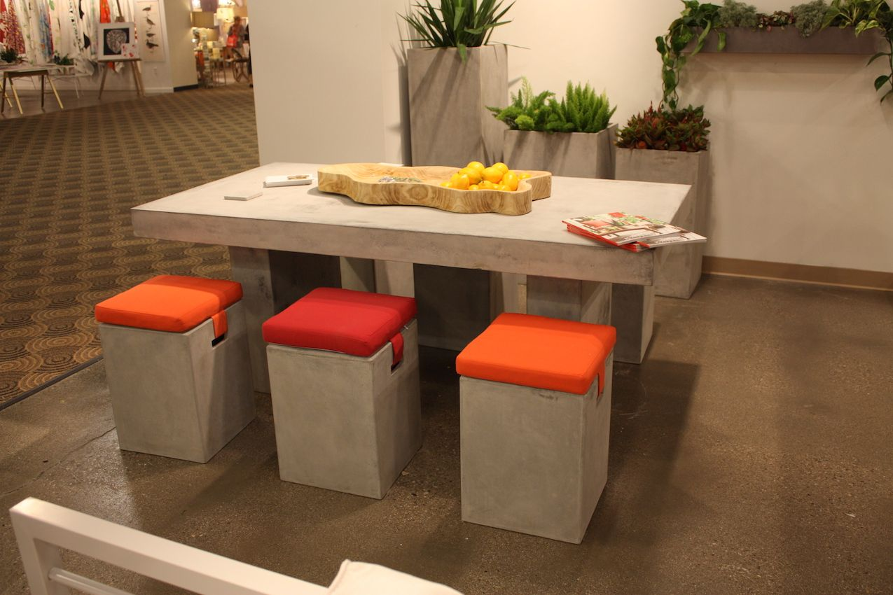 These vivid cushions are a great counterpoint to the concrete stools from Kannoa.