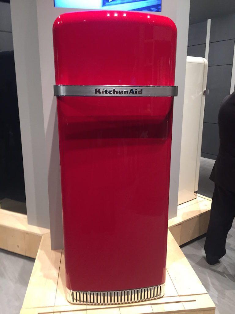 Kitchen Aid's refrigerator is a little retro.