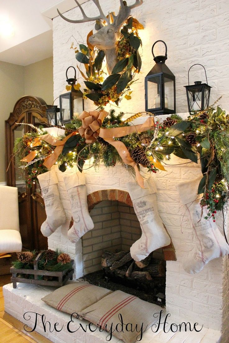 lanterns christmas mantel