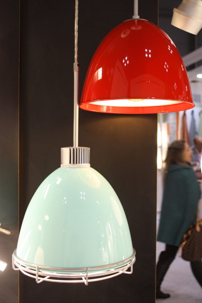 The fixture is a spun aluminum shade available in a variety of finishes.