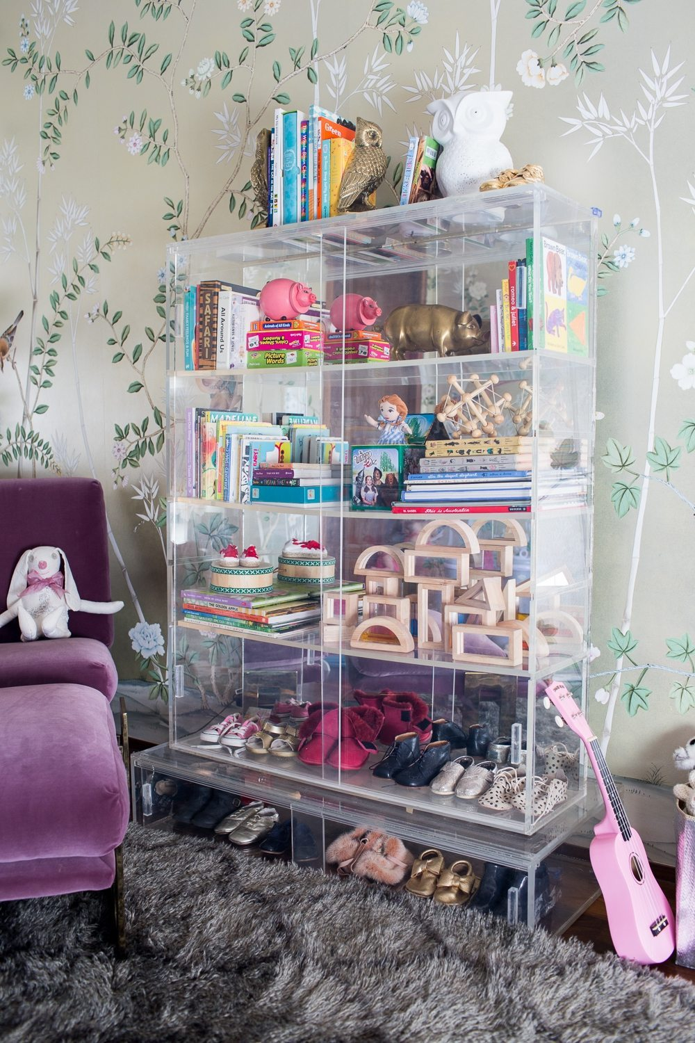 Lucite toy bookcase