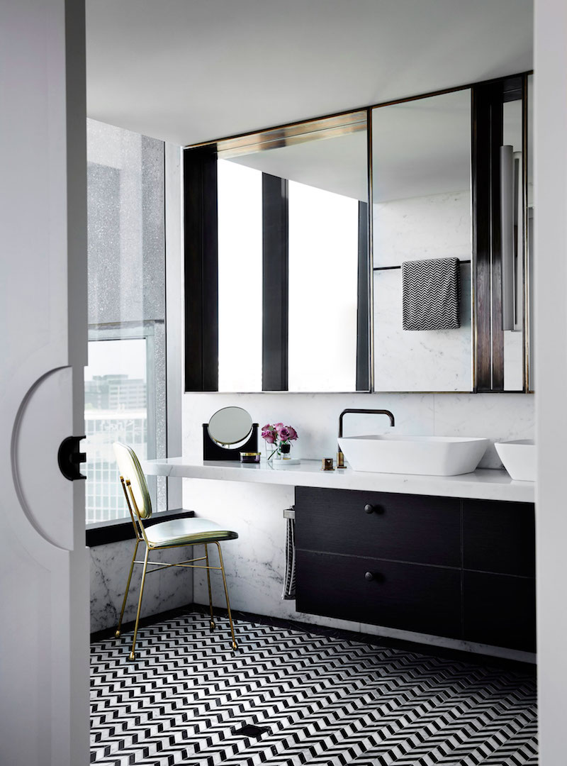 M Residence bathroom vanity and mirrors