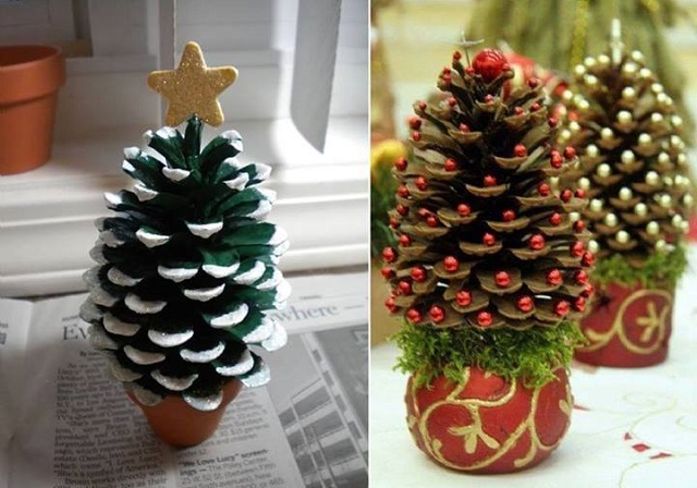 mini pinecones christmas trees