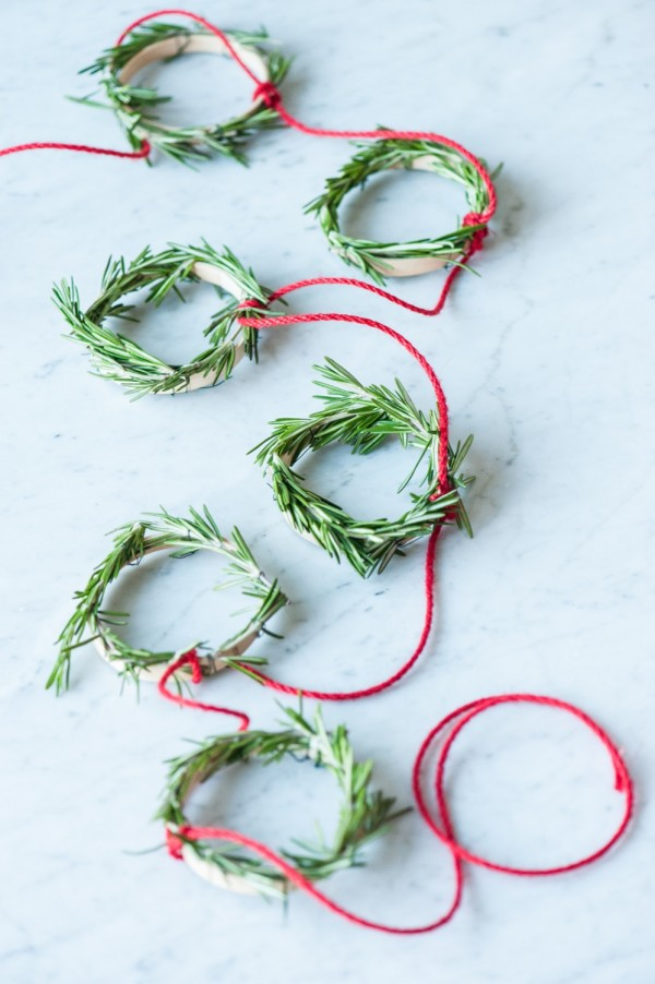 Mini rosemary wreath and garland