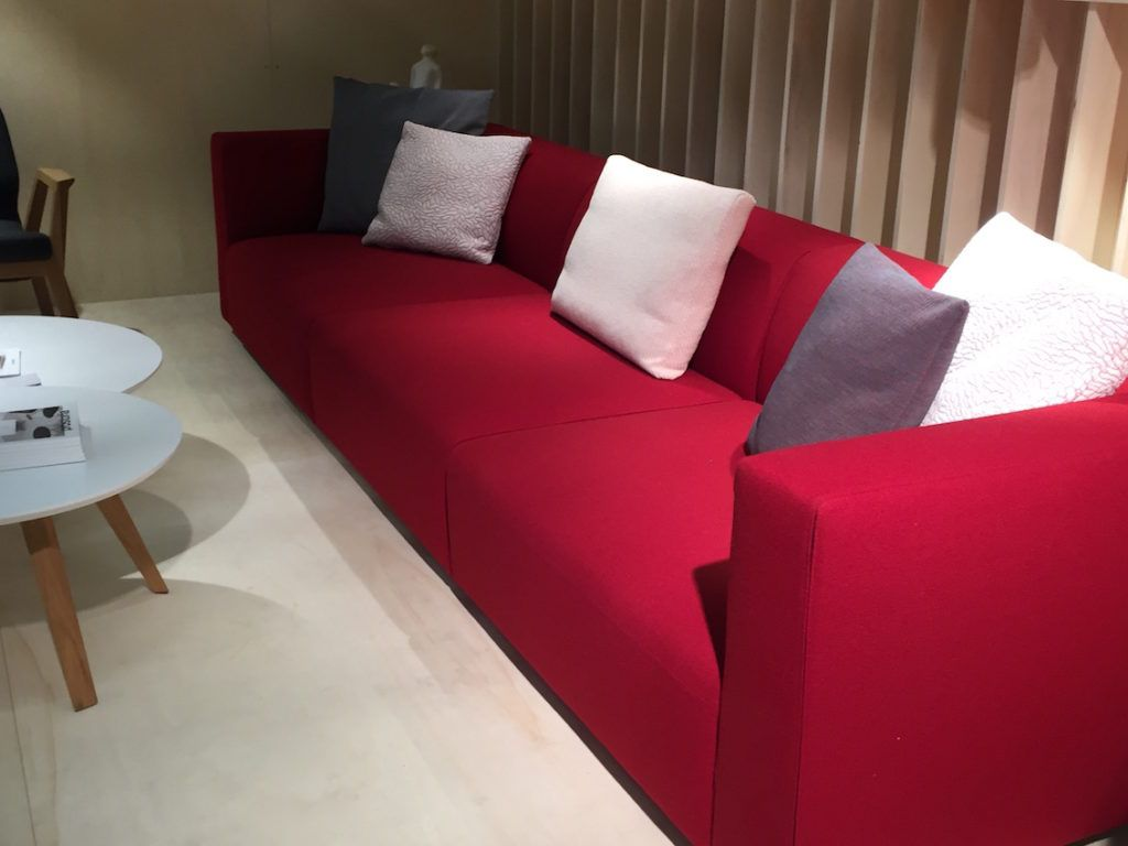 A red sofa looks great in a modern design.