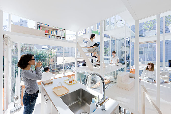 Modern Transparent House Kitchen Area