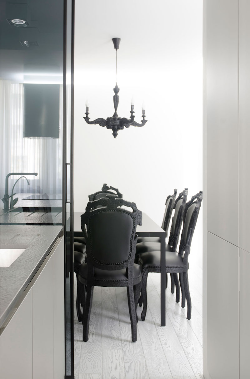 Monochrome Flat dining area