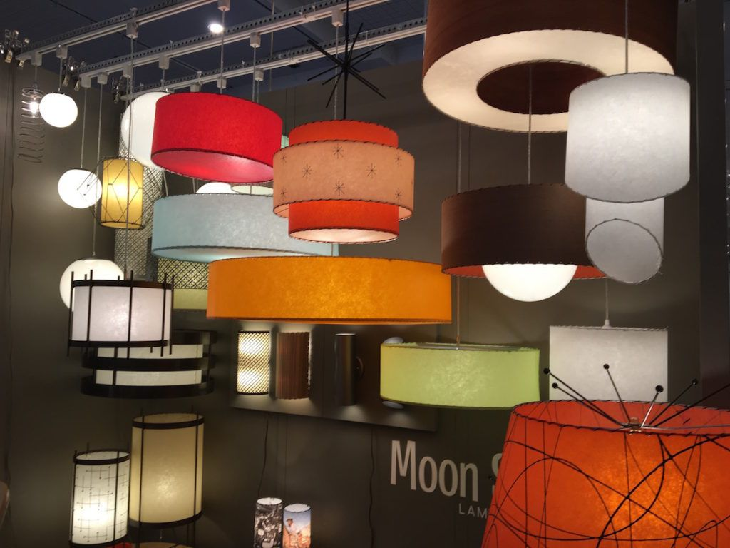 Moon Shine offers classic drum shades and flared pendants.