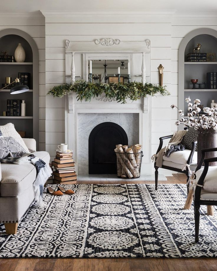 Neutral colored mantel