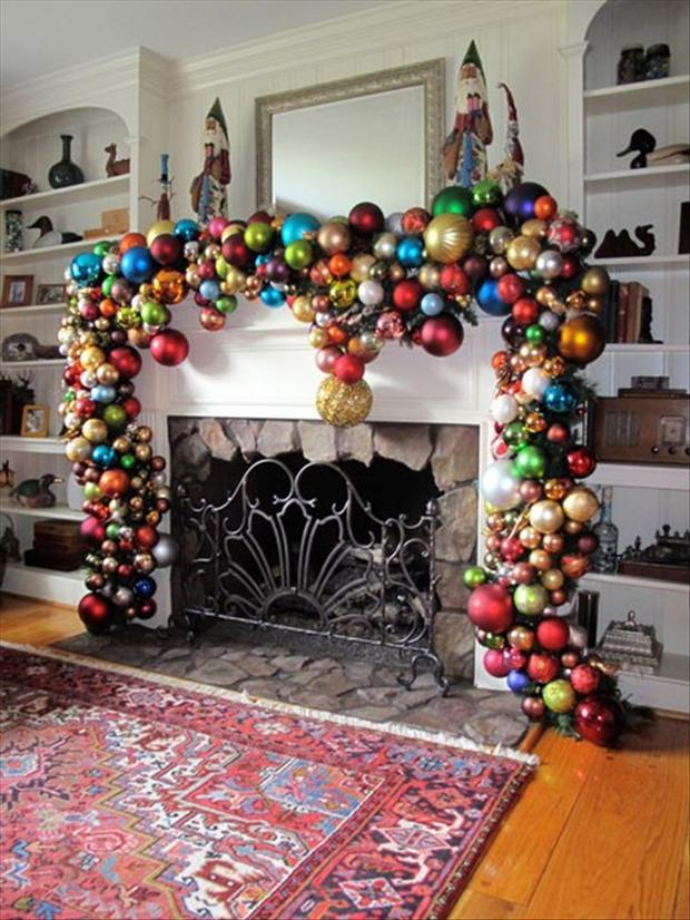 ornament garland mantel - Pictures Of Mantels Decorated For Christmas