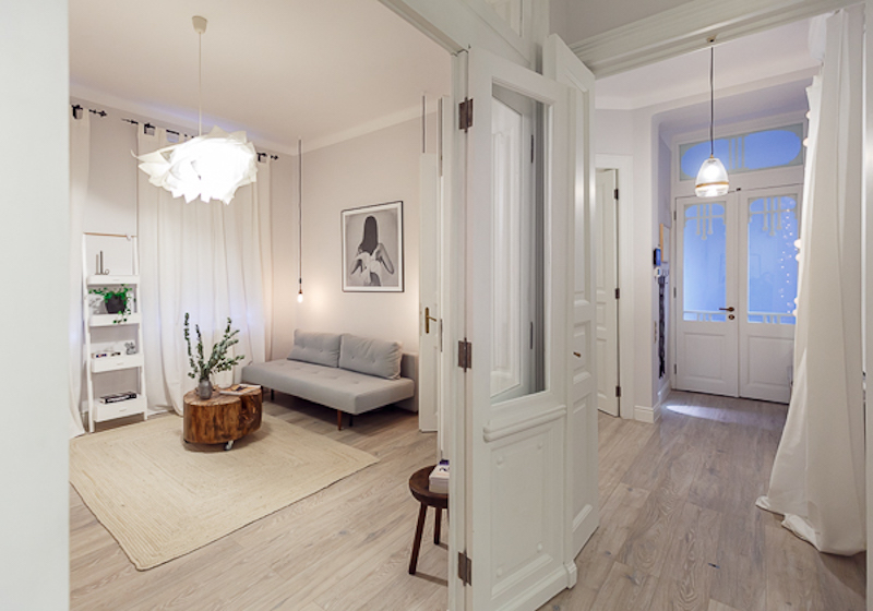 Poem Boem apartment hallway and living