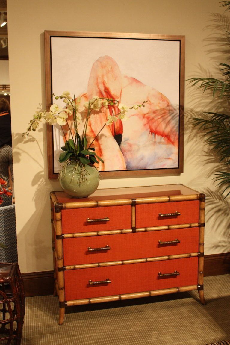 Even a refined style can incorporate a red accent, like this babe trimmed dresser.