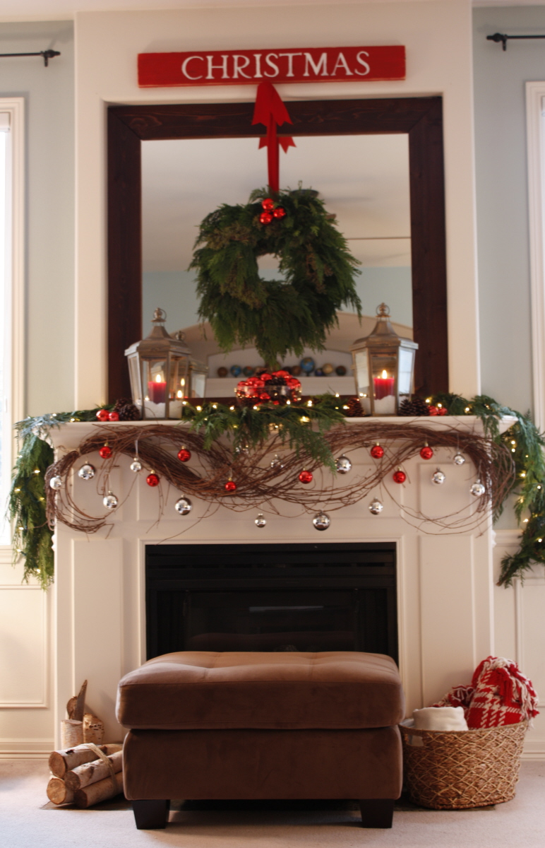 red decor christmas mantel