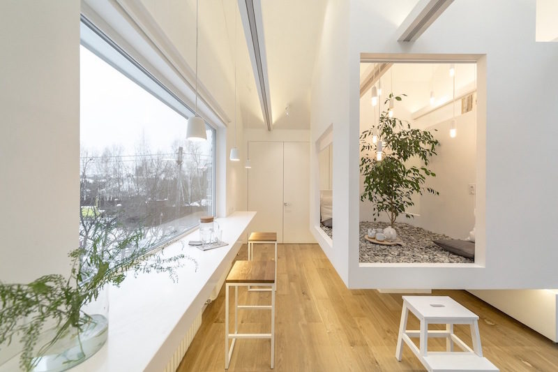 Multifunctional Home With A Central Zen Garden And A Living Tree