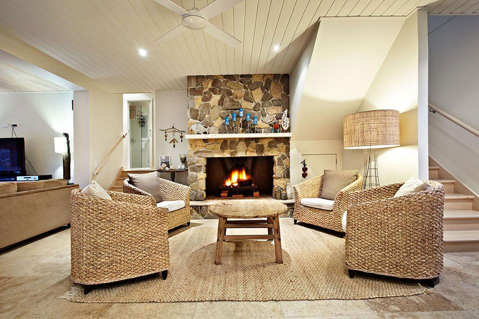 Rustic Ambience with a stacked fireplace