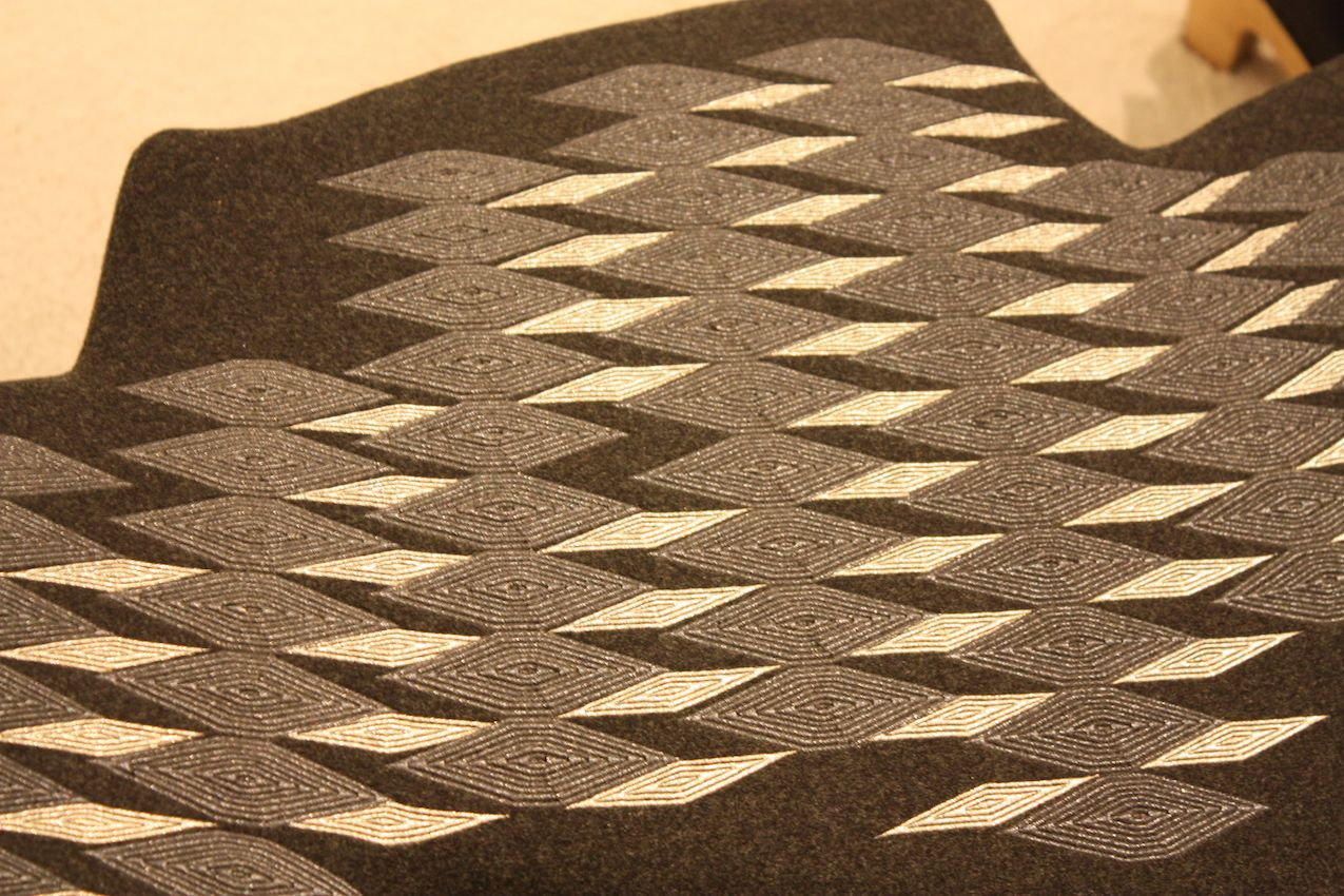 A close-up of the beaded upholstery top.
