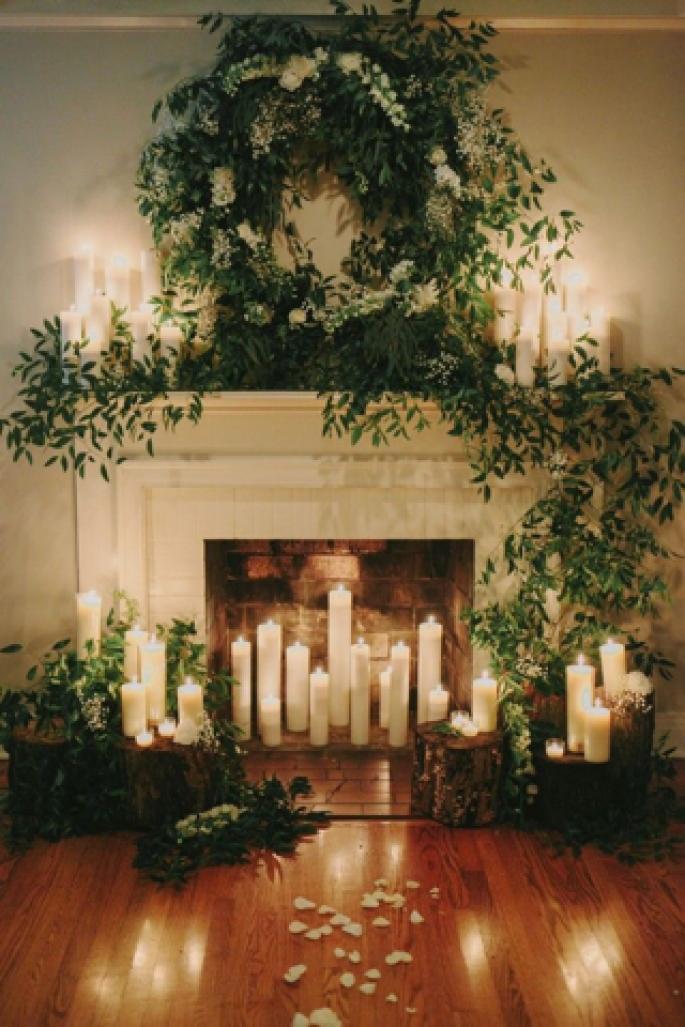 Secret garden christmas mantel