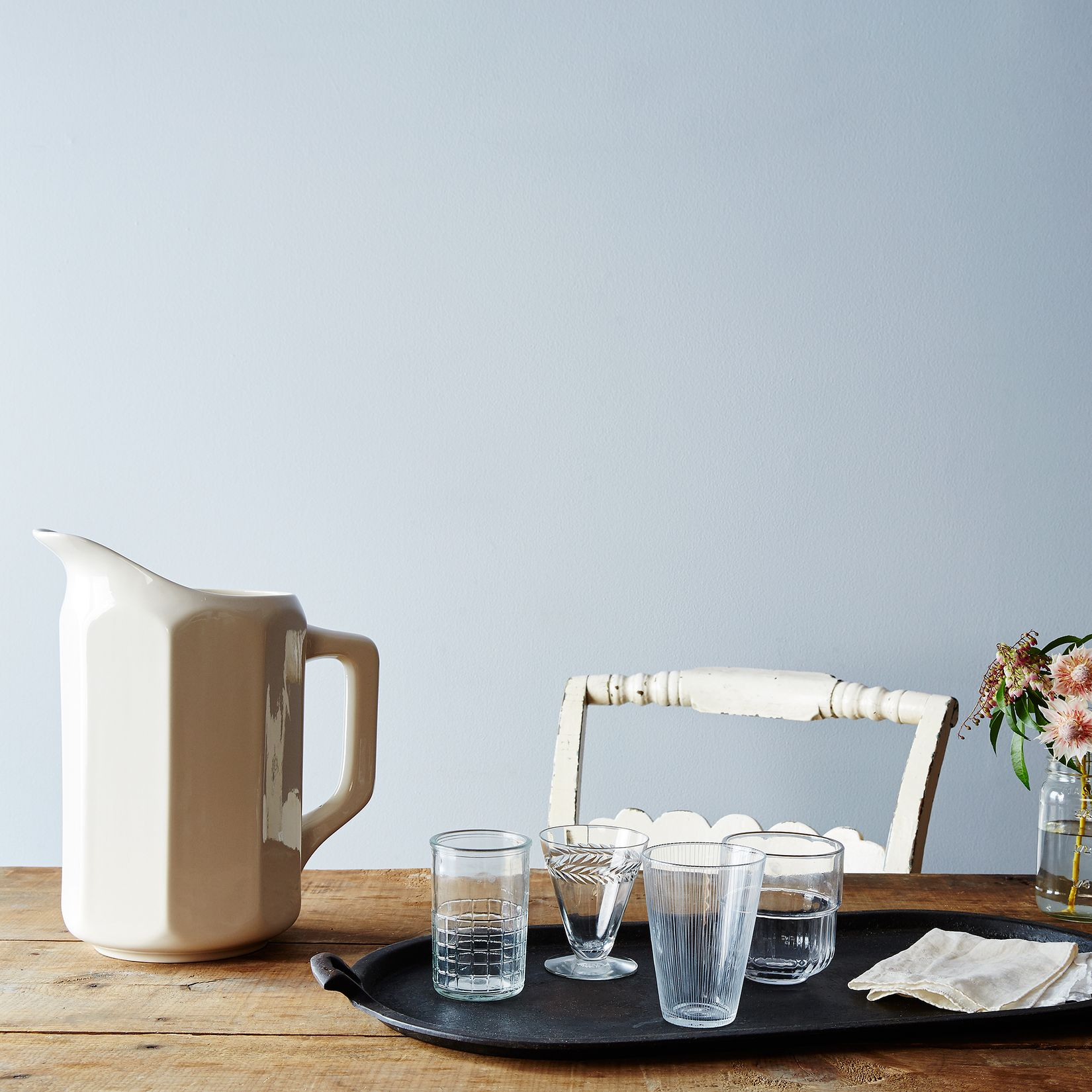 Simple white pitcher
