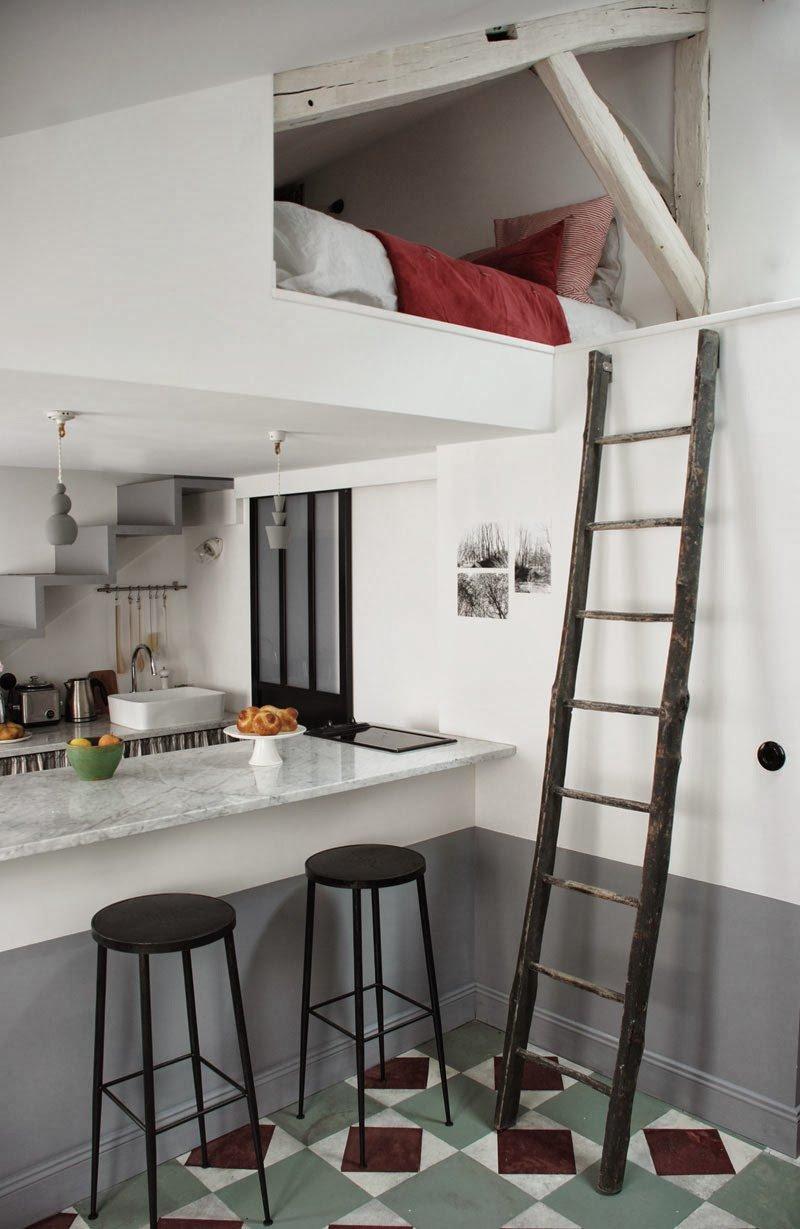 Small Paris Apartment Loft Bed Above