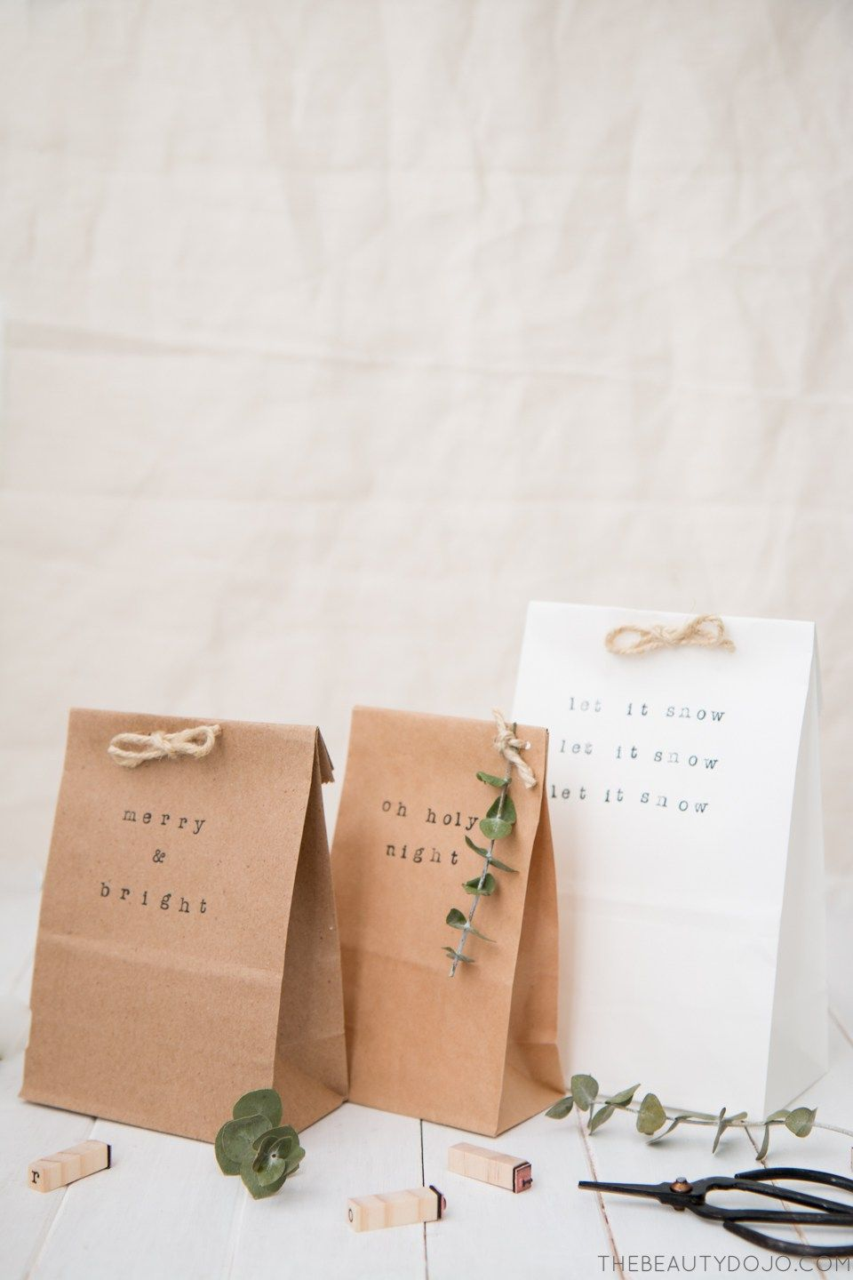 Small brown paper gift bags