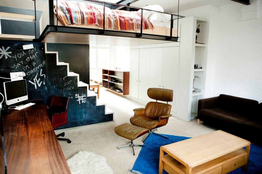 Boxed In Clever Loft Beds And E Efficient Storage Units Image Credit Houzz Studio Apartment Layout Ideas Therapy