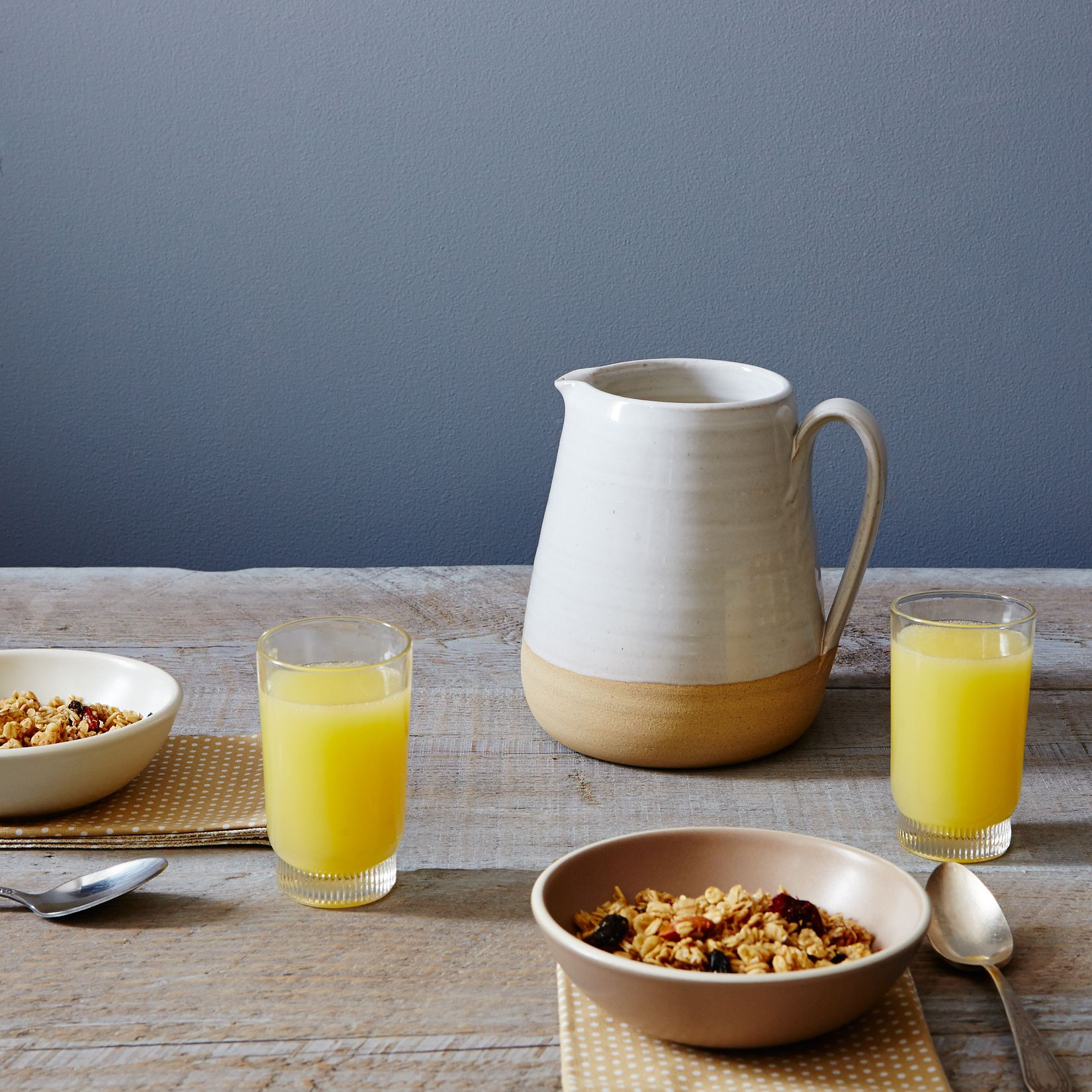 Spotted farmhouse pitcher
