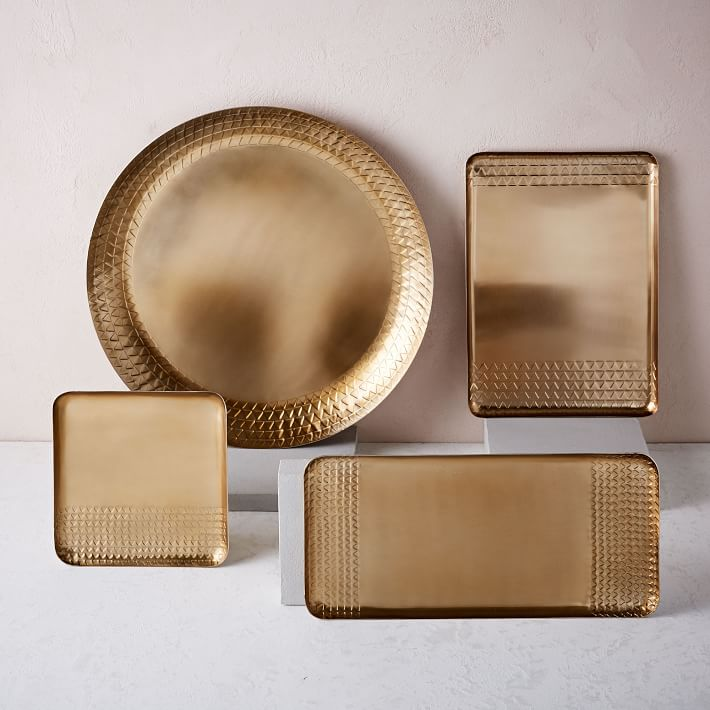 Stamped bronze tray
