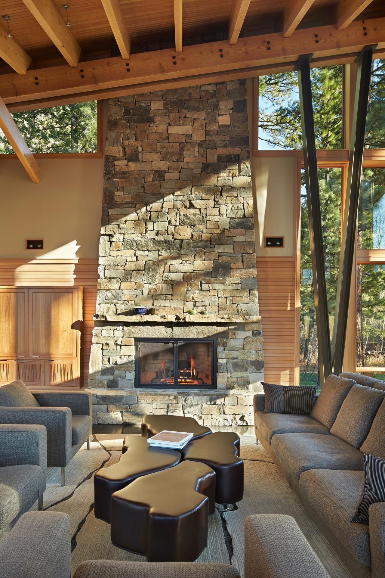 stacked stone fireplace designs and the decors around them rh homedit com