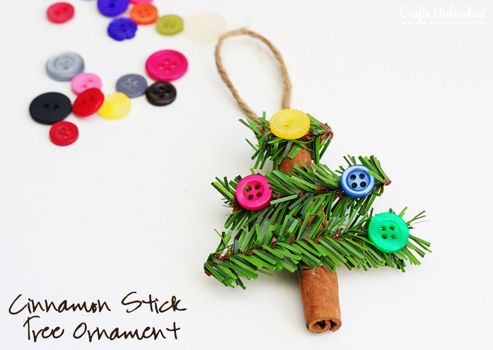 Tree ornaments made from cinnamon sticks