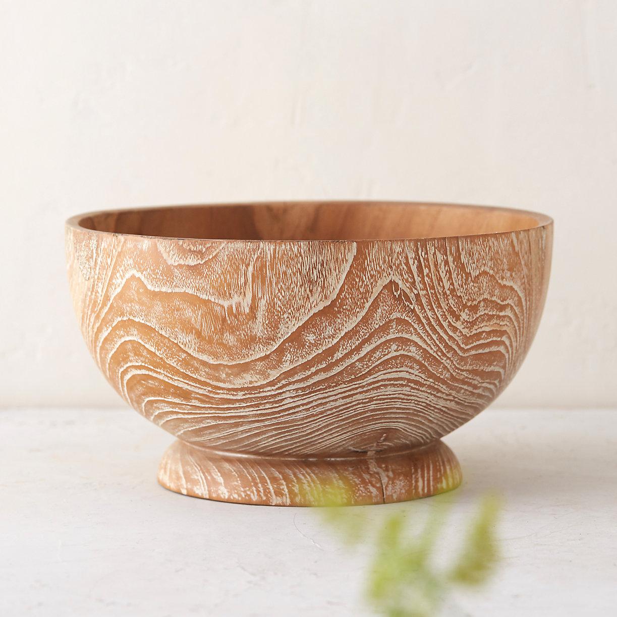 Whitewashed teak bowl