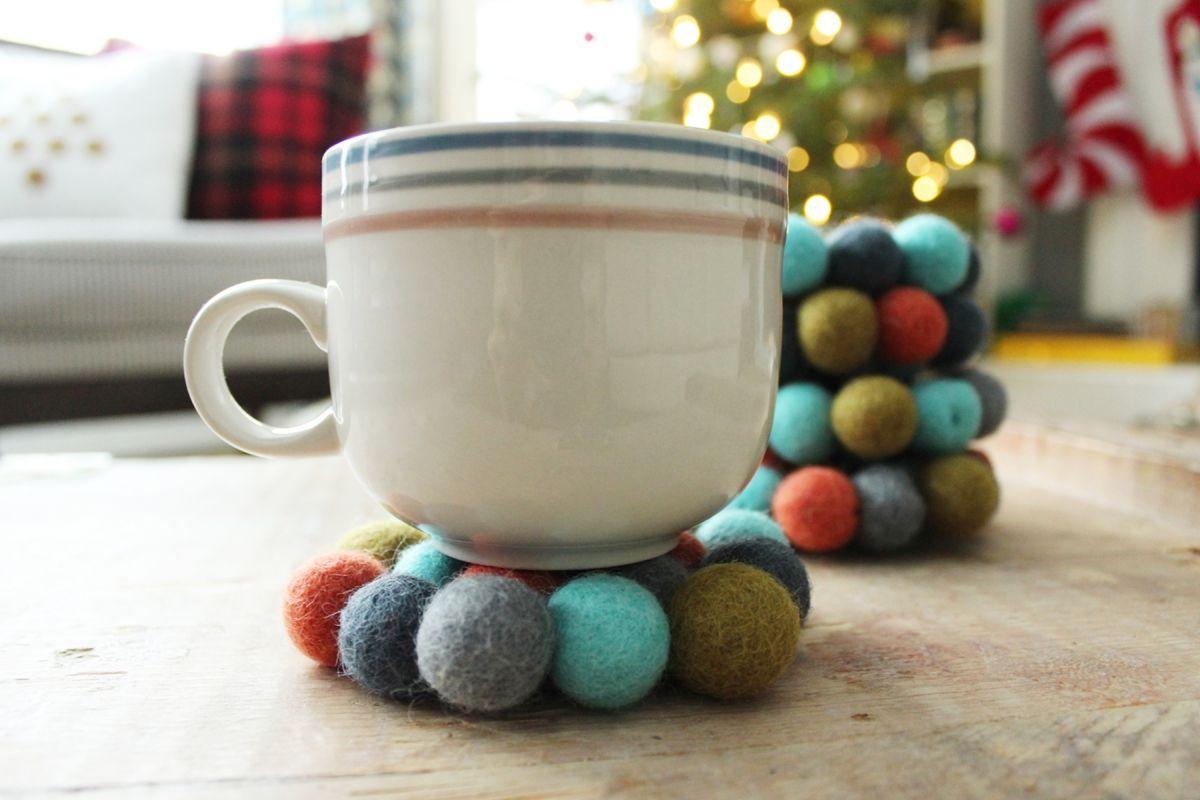 Winter Christmas Gift - Felt Ball Coasters