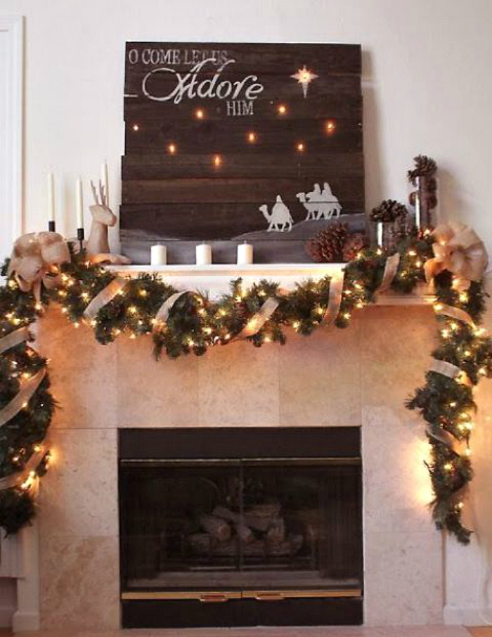 wooden sign mantel