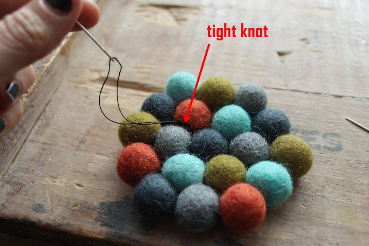 connect the final two wool felt balls Project