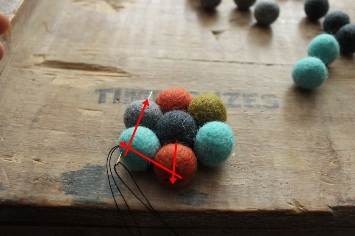 connect the final two wool felt balls