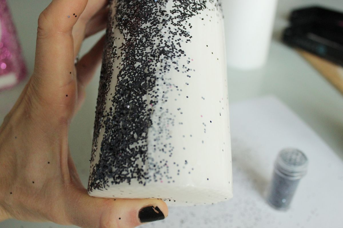 the glitter over your mod podged section