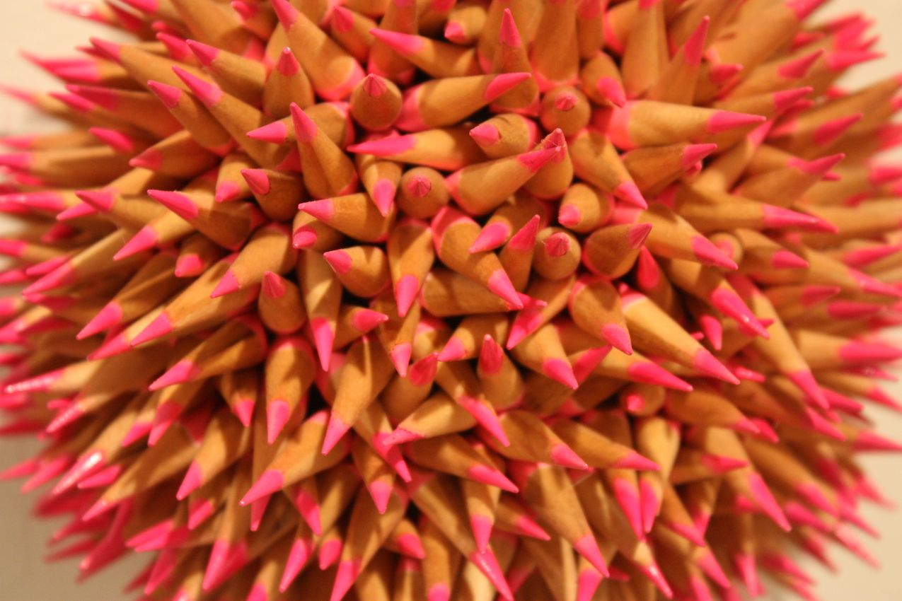 The close-up view shows the intricate arrangement of the pencils.