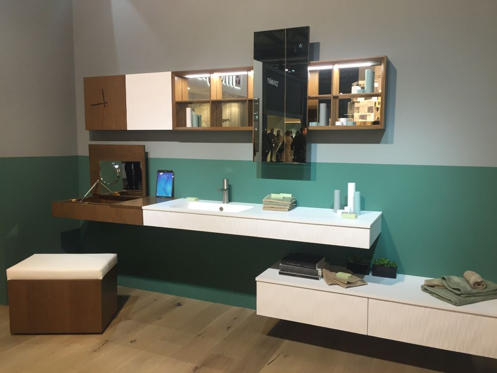 Bathroom furniture with shelf and storage