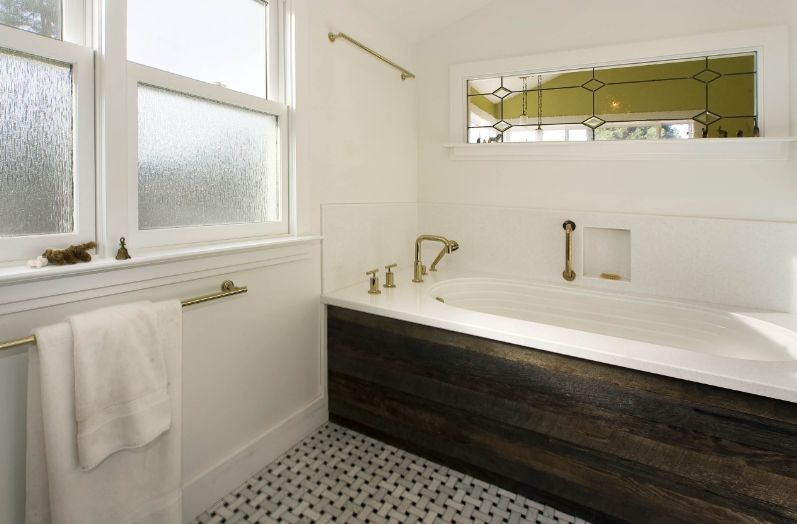 Bathroom windows with rain glass for privacy