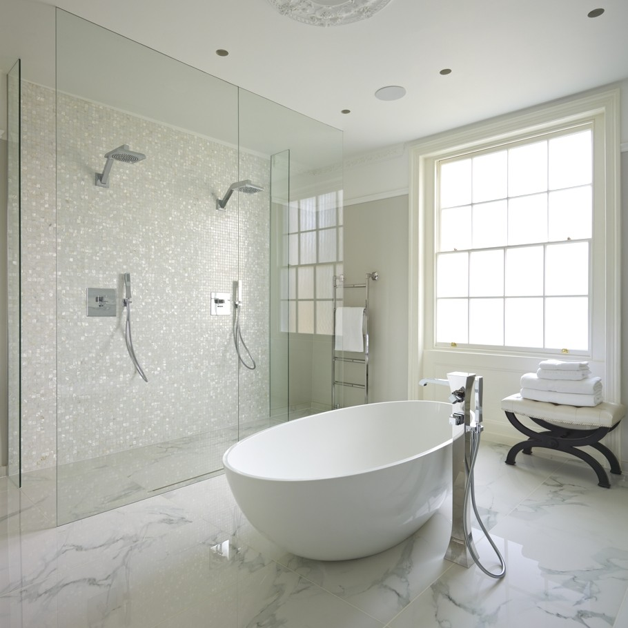 When and where can marble floors become an elegant design feature bathroom with freestanding tub and marble floor solutioingenieria Gallery
