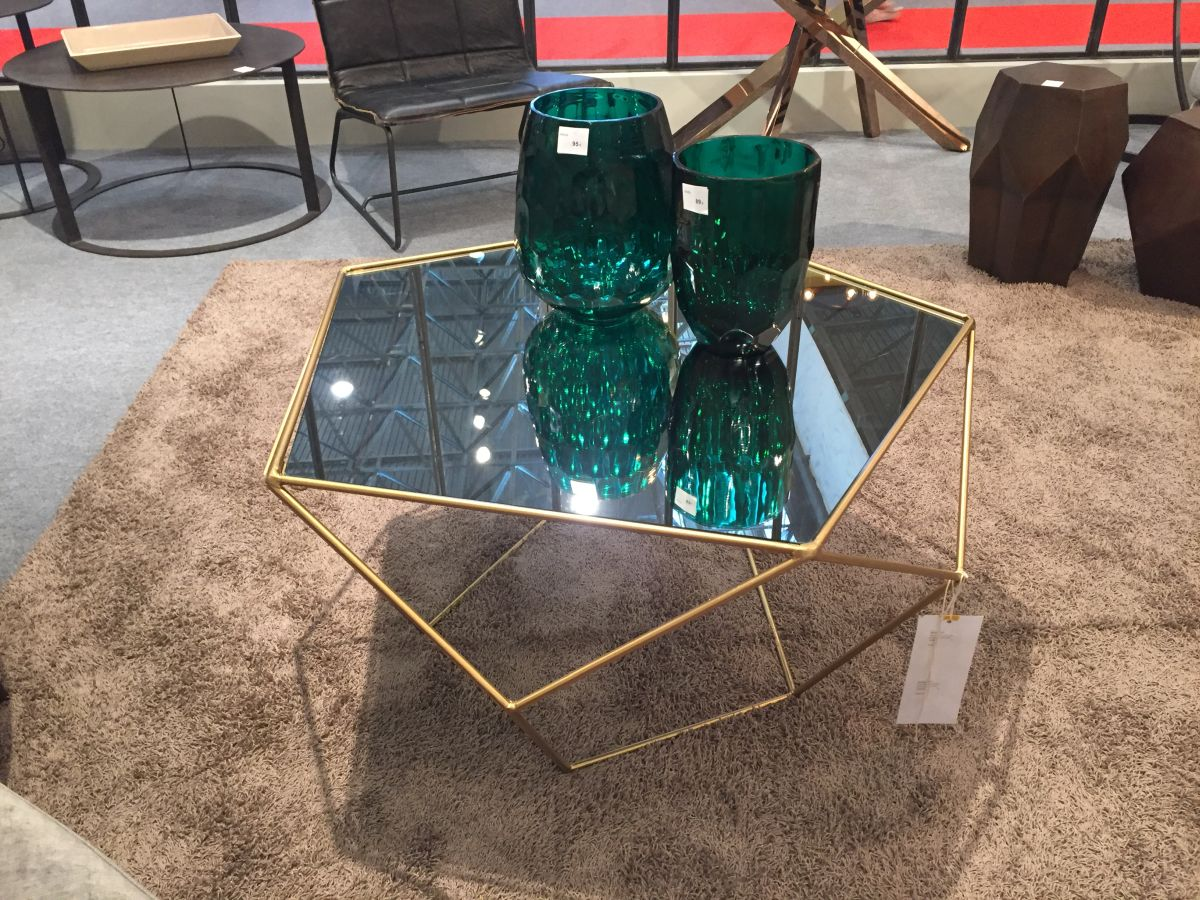 Blue Glass top coffee table and brass base