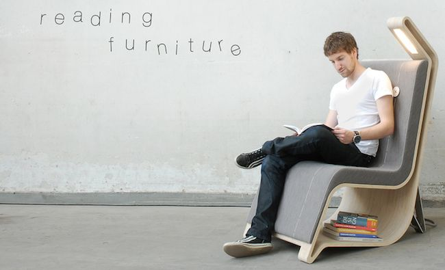 Boosk storage and reading chair with light