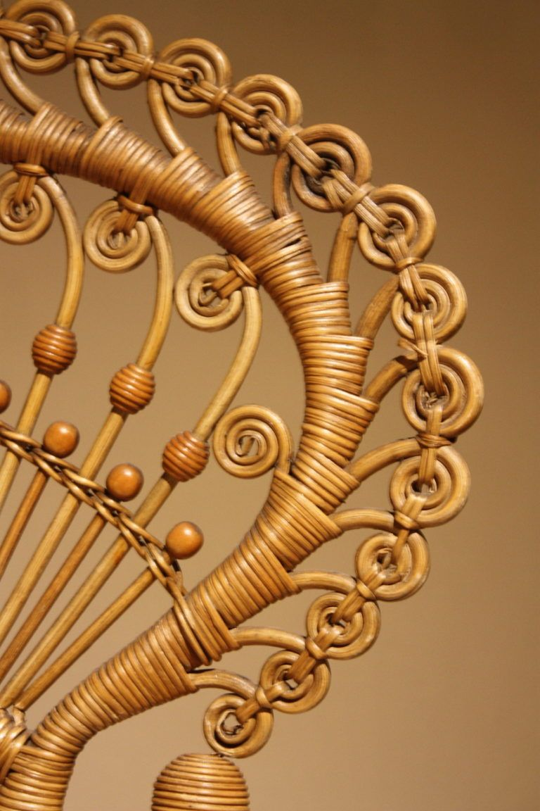 A closer look at the detailed rattan work.