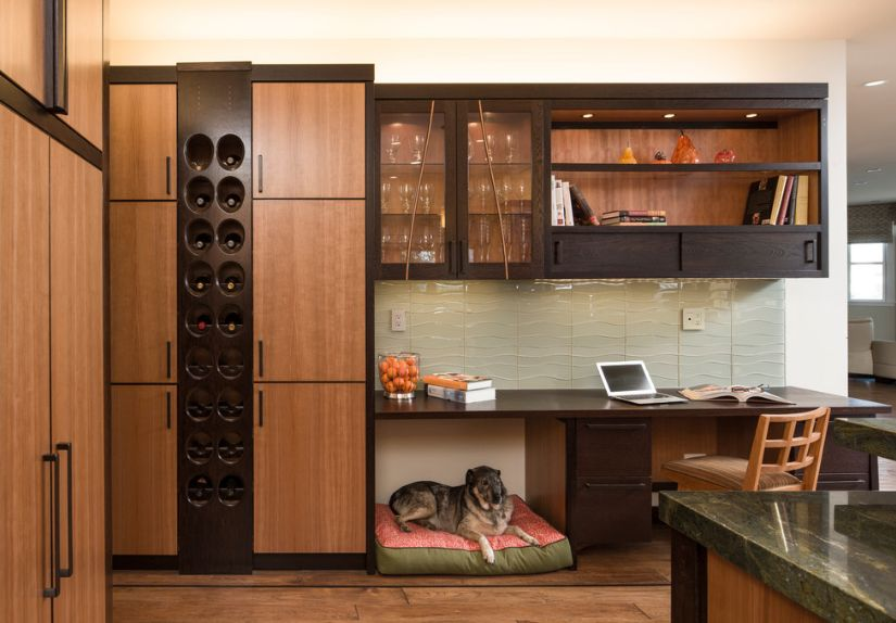 Built in kitchen space for wine