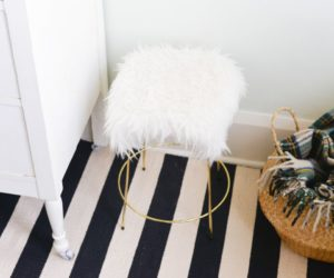 DIY Faux White Fur Stool With Gold Legs