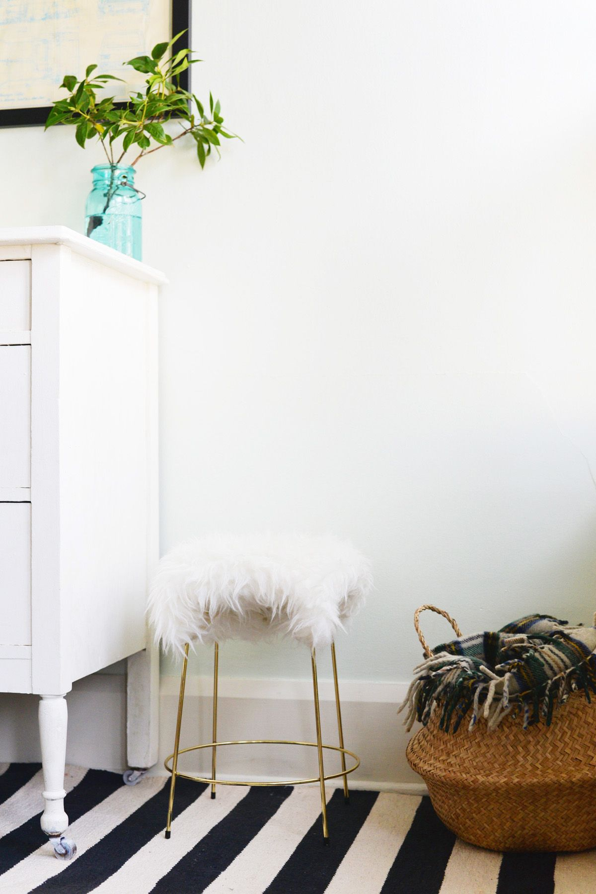 DIY Faux Fur Stool with Gold Base