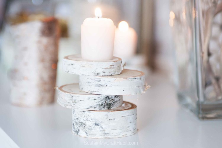 DIY birch stacked candle