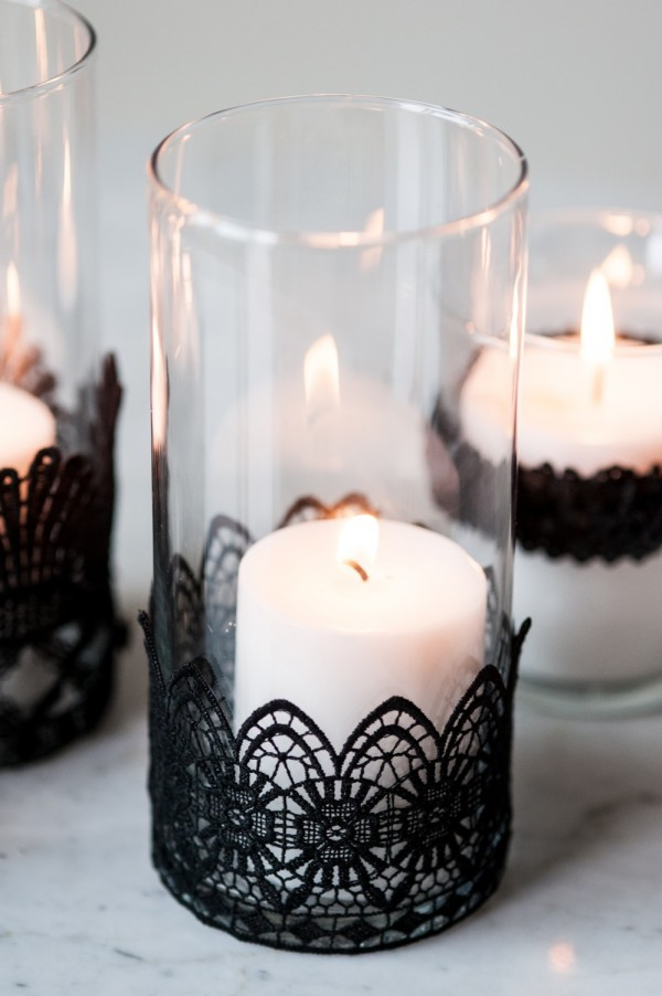 DIY black lace candle holders