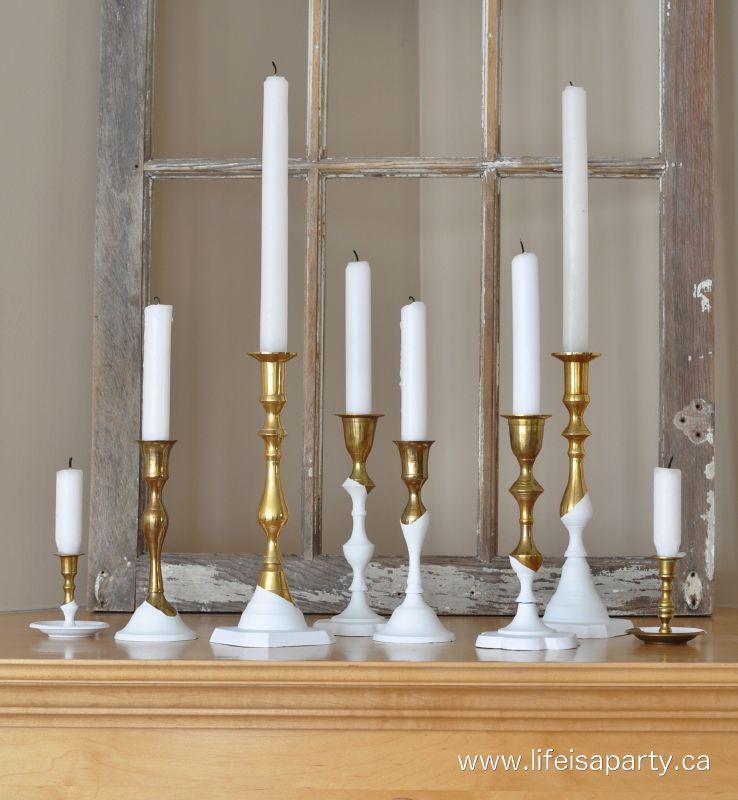 DIY brass dipped candlesticks