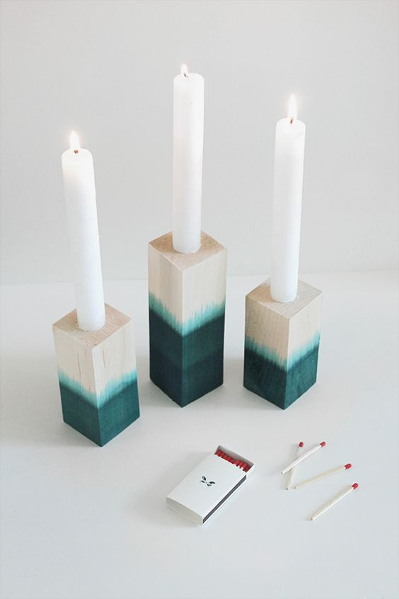 DIY dye dipped candle holders